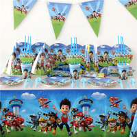 113pcs Lot Kids Favors Plates Birthday Party Baby Shower Flags Cartoon Dogs Caps Tablecloth Cups Decoration