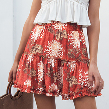 b1f8c1e29 2018 New Fashion Women Ladies Red Skirts Floral Print Boho Female Sexy High  Waist Ruffles Mini