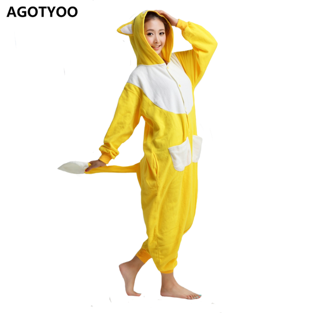 012945058a10 AGOTYOO Women One Piece Pajamas Yellow Fox Cartoon Pijamas Set Fleece Long  Sleeves With Tail Homewear Winter Sleepwear Unisex