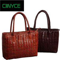 2018 New Brand Designer Women's Genuine Cow Leather Knitting Satchel Handbags Coffe Brown Vintage Cowhide totes shoulder bags