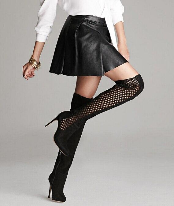 Сплошной черный за колено высокие мотоцикла сапоги женщины тонкие высокие каблуки дышащий выдалбливают весна осень женщины длинные сапоги