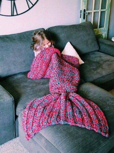 Lap Throw Bed Wrap Fin Warm Cocoon Costume Girls Kids Sleeping Bag Handmade wool Mermaid Tail knitted Blanket