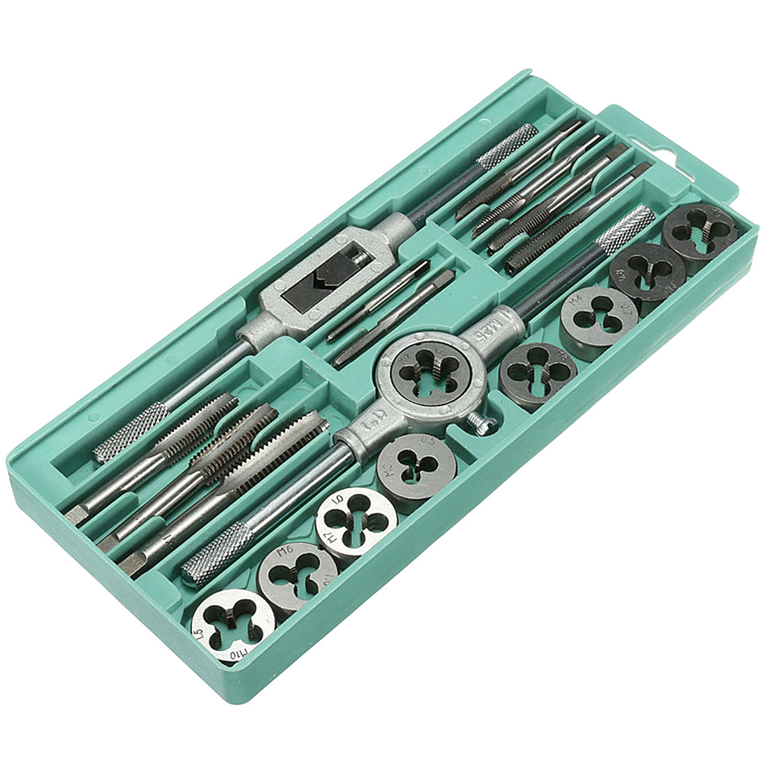 Alloy Steel 20pcs/set Metric Tap Dies Set 1/16''--1/2'' NC Screw Thread Plugs Taps Hand Screw Taps Hand Tools
