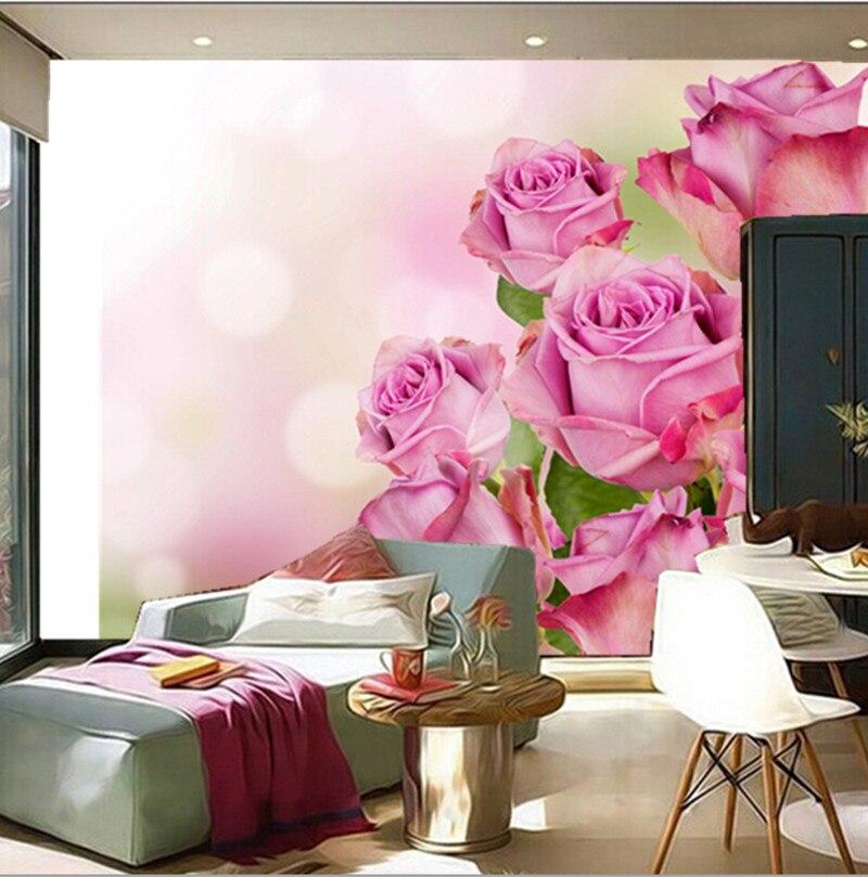 Custom 3D murals beautiful pink color roses flowers wallpapers living room sofa TV wall bedroom background