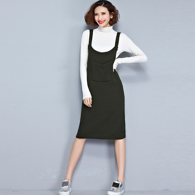 5bda3a7117ef Jellpe Women Office O Neck Tank Dress Solid Sleeveless Solid Vest Dress  Vintage Cotton Sweater Dress Women Clothing