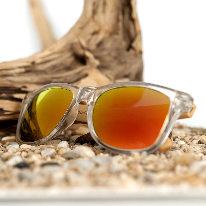 Clear Color Polarized Wood Bamboo Sunglasses For Women. 27