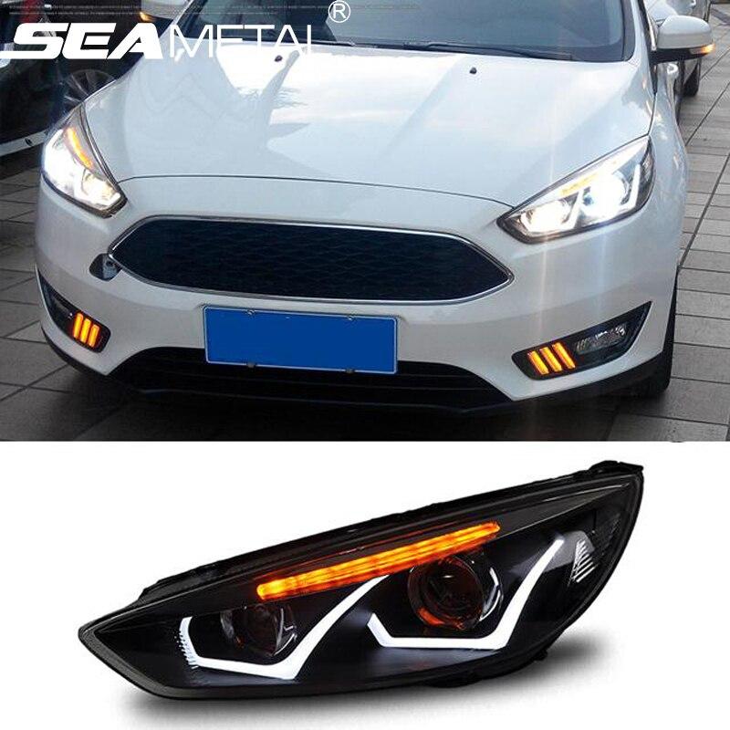 Car Headlights For Ford Focus 3 sedan Hatchback 2015 2016 2017 LED Headlight Kit Head lights DRL+Turning lights Auto Front Lamps