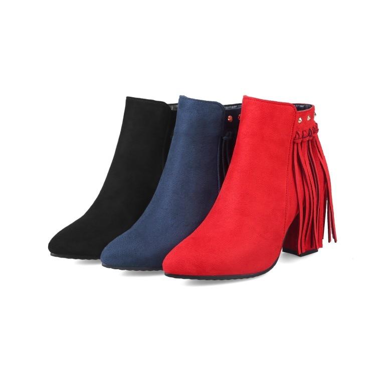 Femmes De automne Court Rouge Talons Grande 48 Bout Peluche Cheville Bottes Taille Chaussures Pointu 627 Hauts Frange Printemps Xianyiduo 34 En 2 Bleu nw47qxCEw