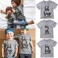 Летняя Повседневная одинаковая футболка с надписью «Little Big Sisters Brothers» хлопковые топы для маленьких мальчиков и девочек, футболка, одежда - фото