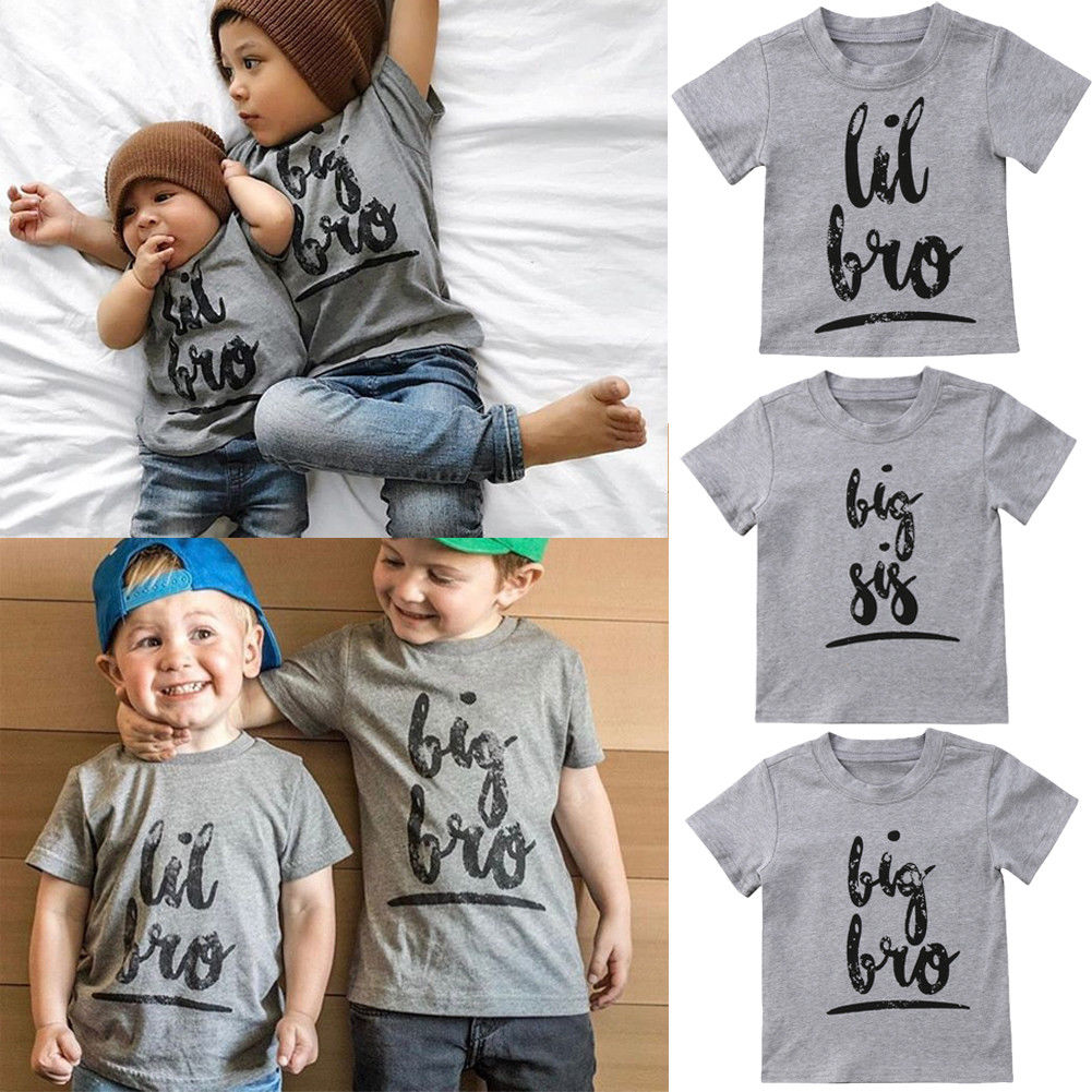 Summer Casual Little Big Sisters Brothers Matching Tee Shirt  Baby Kids Boy Girl Cotton Tops T-shirt Clothing