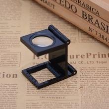 Складной 12x увеличение Lupa оптические линзы увеличительное стекло лупа светодиодный светильник с подсветкой печатная ткань