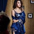 XIFENNI Marca Mujeres Satén de Seda Pijamas Del Bordado de Encaje de Tres Piezas Pijama Conjuntos de Pijamas ropa de Dormir de Seda de Imitación Femenina 20343