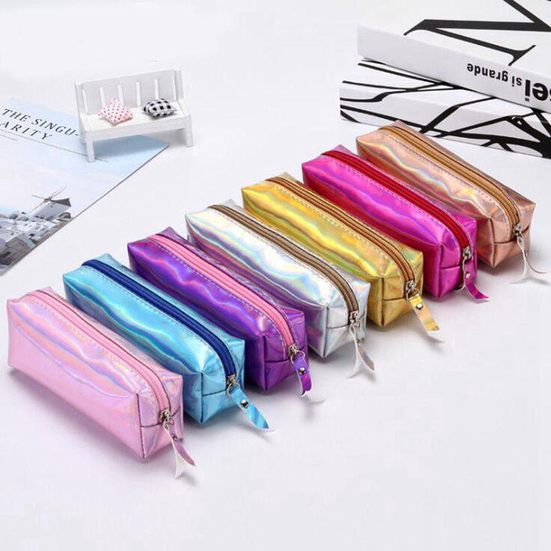 1pc PU Kawaii Iridescent Laser Pencil Case Cute Pencil Box For Girls Boy Gift Pencil Bag School Supplies Stationery