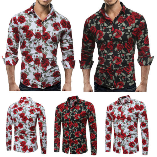 620ba21f71b New Men S Luxury Long Sleeve Tops Tee Slim Fit Casual Rose Flower Printed  Shirts New Hot Fashion