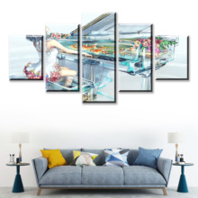 HD Print 5 Piece Anime Original Canvas Art Poster Crystal World Painting On Wall For Home Decorations Decor Framework