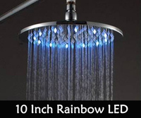 Promotion Sale Free Shipping 10 Inch Led Shower Head with Brass Chrome 250mm Rainbow Colours As Time Changes Light 20004