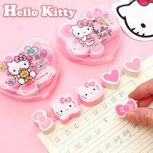 6 шт./упаковка, ластик с рисунком кота hello kitty, сердечка, бант, милый детский карандаш для коррекции письма, резиновые ластики, подарок каваи