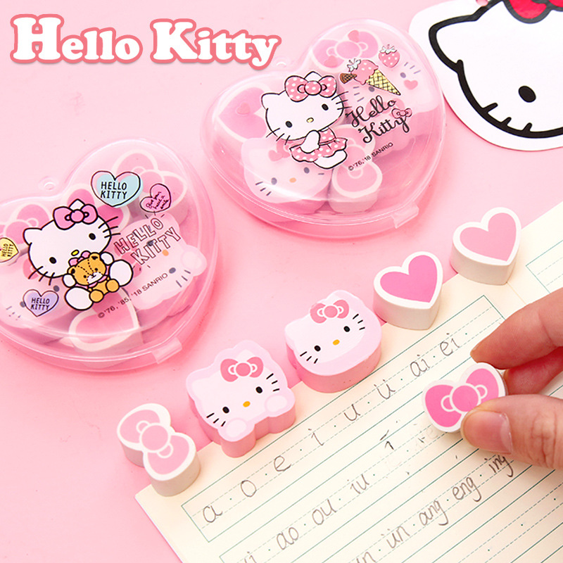 6Pcs/Boxed Cartoon Cat Hello Kitty Heart Bowknot Eraser Cute Children Writing Correction Pencil Rubber Erasers Kawaii Gift