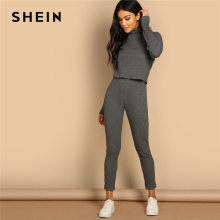 SHEIN Grey Turtleneck Rib-knit Drop Shoulder Crop Top and Leggings Women Spring