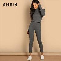 SHEIN Grey Turtleneck Rib knit Drop Shoulder Crop Top and Leggings Two Piece Sets Women Spring Casual Streetwear Two Piece Set