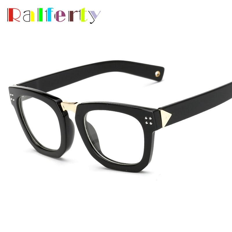 Ralferty Moda Unissex Óculos de Armação de Olho Com Lente Clara, Quadrado  preto Rosa Frame Ótico Para As Mulheres Homens Óculos Quadros 7006 35c9c87ba6