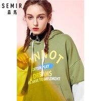 SEMIR Women Fake 2 Piece Oversized Graphic Hooded Sweatshirt with Kangaroo Pocket Pullover Hoodie Drawstring Hood Ribbing at Hem