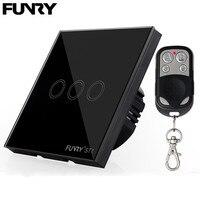 FUNRY EU UK Standard 3 Gang 1 Way Light Switch Remote Control Wall Switch RF433 Glass