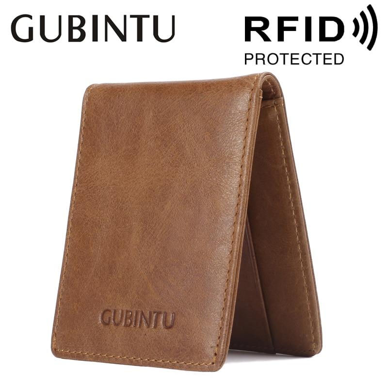 Rfid Blocking Card Holder Wallets Fashion New Men Genuine Leather Black Business Purse