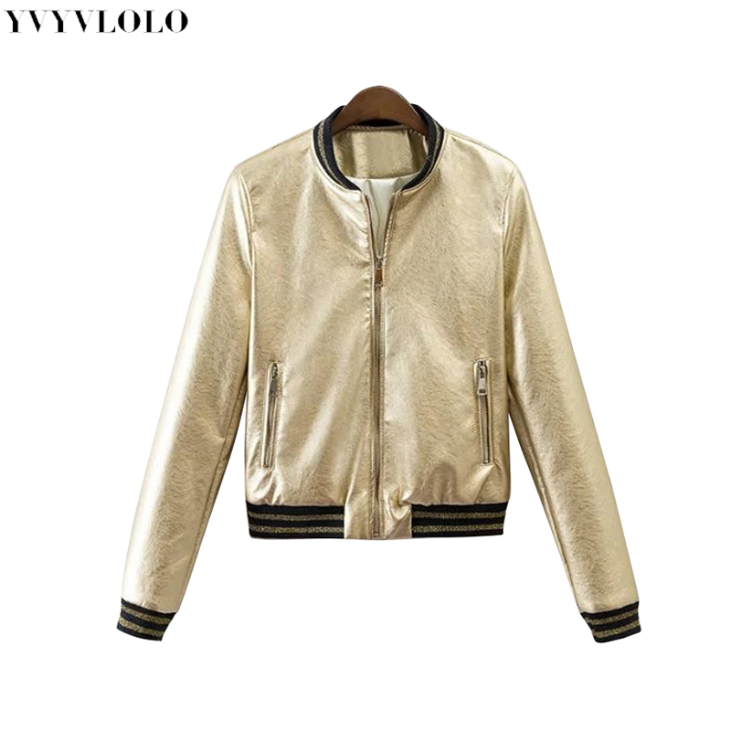 2019 Frühling Neue Marke Frauen Bomber Jacke Frauen Leder Jacke Metall Farbe Einreiher Weibliche Jacke Jq-9063