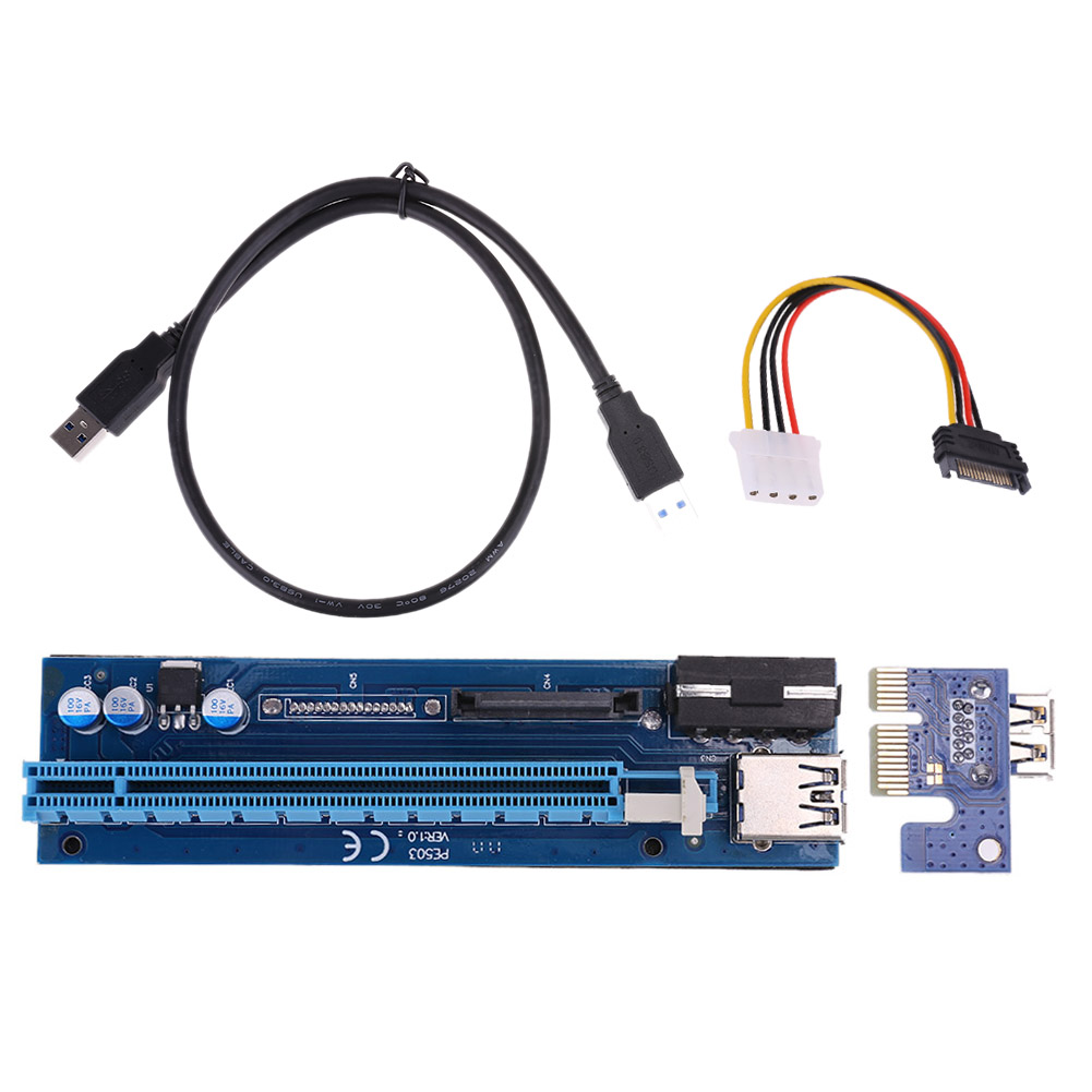 2 in 1 PCIe PCI-E PCI Express Riser Card 1x to 16x USB 3.0 Data Cable SATA 4Pin IDE Power Supply riser for Miner Machine riser card 60cm pcie pci e pci express card 1x to 16x usb 3 0 data cable sata to 6pin ide power supply for miner machine