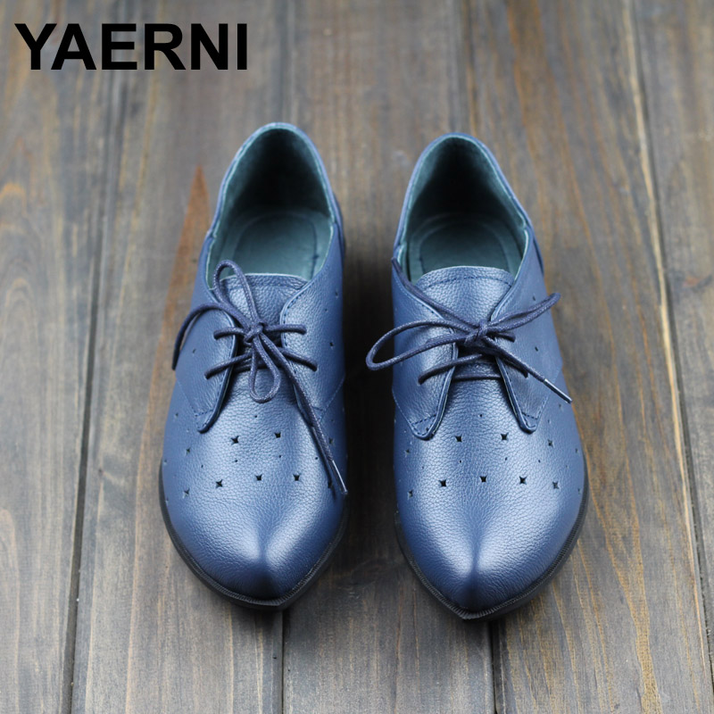 YAERNI Shoes Woman Flat Genuine Leather Pointed toe Flats Hollow out Summer Footwear 2017 Ladies Flat Shoes
