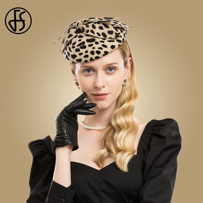 FS Fascinators Leopard Women Pillbox Hat With Bow Felt Black Wool Wedding Hats Church Fedoras Vintage