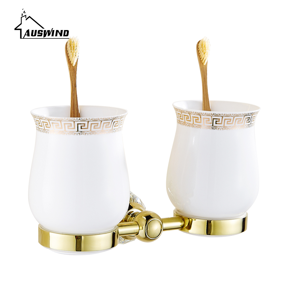 Crystal Brass Double Cup Tumbler Holders Glass Gold Toothbrush Cup Holders Bathroom Accessories image