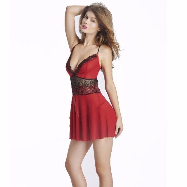 Vocole Rood Sexy Diepe V Sling Lingerie Transparante Backless Nachtkleding Sex -5597