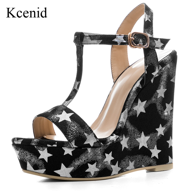 fc97cd3fe647 Kcenid Plus size 34-41 women summer new platform shoes wedge high heels  sexy open toe sandals silver star gold shoes for women