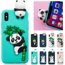 6 S Plus Funda Di UNTUK iPhone 7 Plus Case For iPhone X 8 7 6 S PLUS 5 S se XR X Max Cover Lembut Panda Kartun Unicorn Telepon Kasus(China)