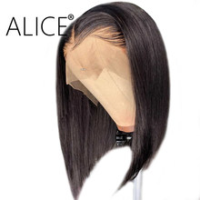 ALICE Short Bob Lace Front Wigs With Baby Hair Straight Glueless Lace Front Human Hair Wigs 13x4 Remy Brazilian Hair Wigs(China)