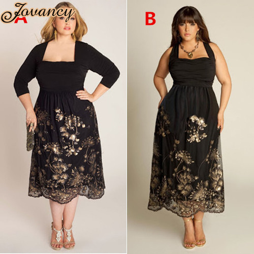 Formal Tea Length Golden Lace Plus Size Black 34 Sleeve Chiffon