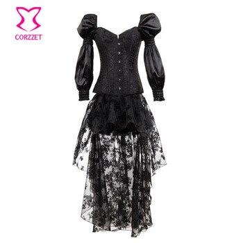 d215404fc15012 Corset Brocade Jurk Lange Gothic Victoriaanse Burlesque Korsetten Steampunk  Zwart Rok Satijn Mouw amp  Corstory Wn0IqxBB