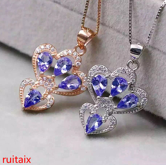 KJJEAXCMY boutique jewels 925 sterling silver inlaid with natural stone tanzanite necklace set chain jewelry gem.aeret kjjeaxcmy boutique jewels 925 sterling silver plated rose gold with natural tourmaline collarbone necklace chain
