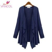 5 Colors Vancol Long Thin Cardigan European Style Long Sleeve Solid Modal Knit Coat Women Autumn