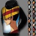 Зима На Флисовой Подкладке 3D Печать Jpanese Аниме Балахон Куртка Один Кусок С Капюшоном Пуловер Пальто Для Мужчин и для Женщин