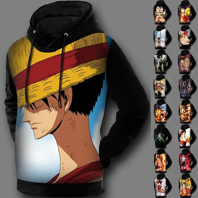 Fleece Line 3D Print Japanese Anime Hoodie Jacket One Piece Sweatshirt  Pullover Coat Luffy Black Beard