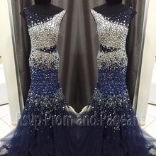 Luxury Mermaid Scalloped Neckline Rhinestone Evening Gown Crystals Floor Length Navy Blue Long Evening Dress 2017