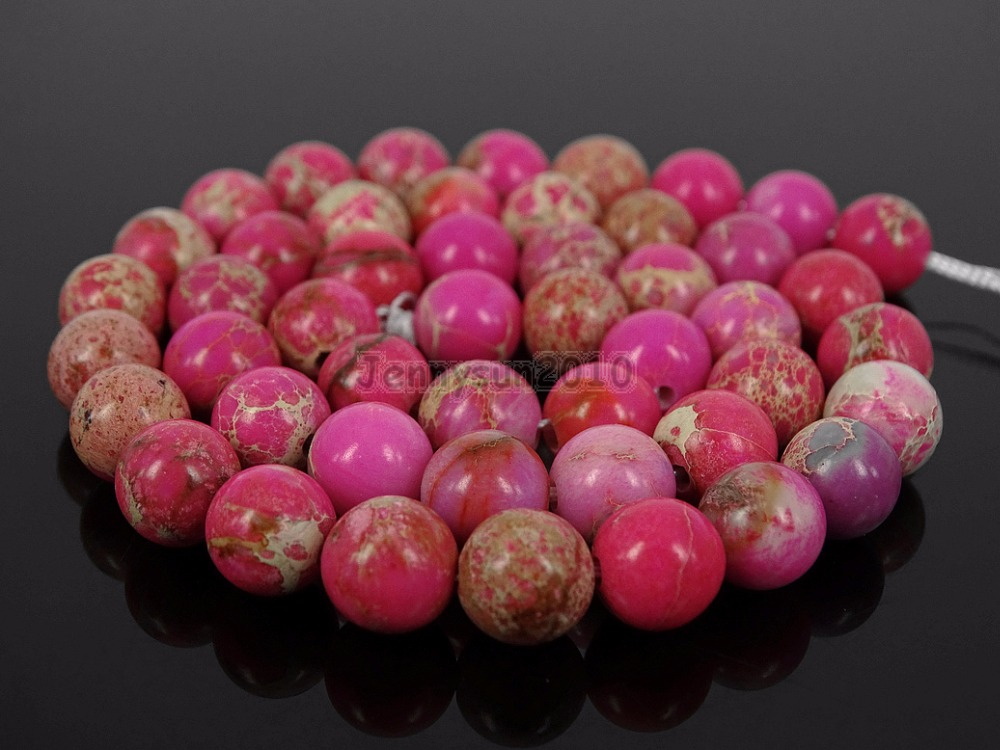 Natural Pink Sea Sediment Jas-per Gems Stone Round Spacer Loose Beads 15'' Jewelry Design 5 Strands/Pack