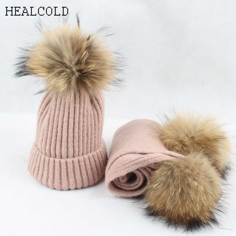 Children Hat Scarf Toddler Baby Knitted Wool Beanie Real Fur Pompom Kids Winter Hat And Scarf Set For Girls Boys