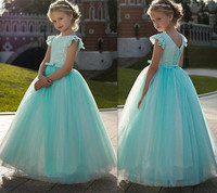 Cute Green Flower Girl Dresses Ball Gown Sheer Neck With Lace Applique Kids Birthday Gown Girls Pageant Dresses Custom Made