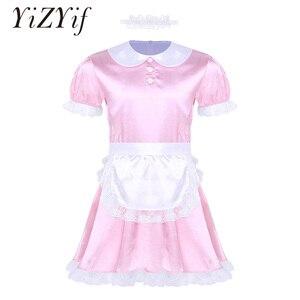Image 1 - Seksowne męskie Sissy kostiumy dziewczyna pokojówka sukienka, mundurek kostium lalka szyi z krótkim rękawem satynowa sukienka z pałąkiem na głowę i fartuch Sexy Cosplay