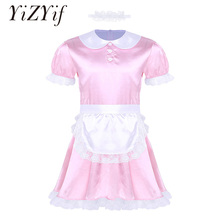 Sexy Mens Sissy Costumes Girl Maid Dress Uniform Costume Doll Neck Short Sleeve Satin Dress with Headband and Apron Sexy Cosplay