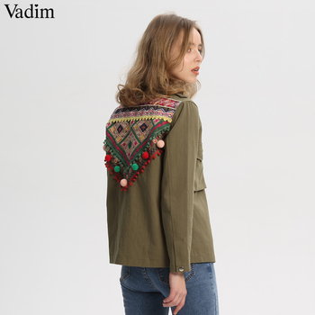 Vadim women vintage embroidery jacket coat fur ball patchwork pockets long sleeve pleated coats army green casual tops CA095 embroidery